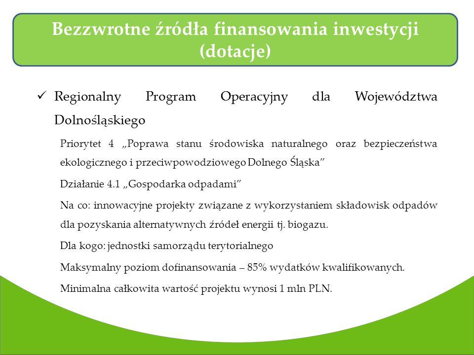 Bezzwrotne źródła finansowania inwestycji (dotacje)