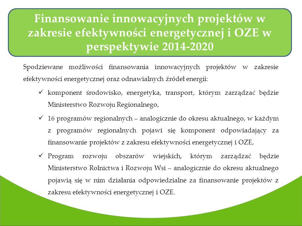 Finansowanie innowacyjnych projektów w zakresie efektywności energetycznej i OZE w perspektywie 2014-2020
