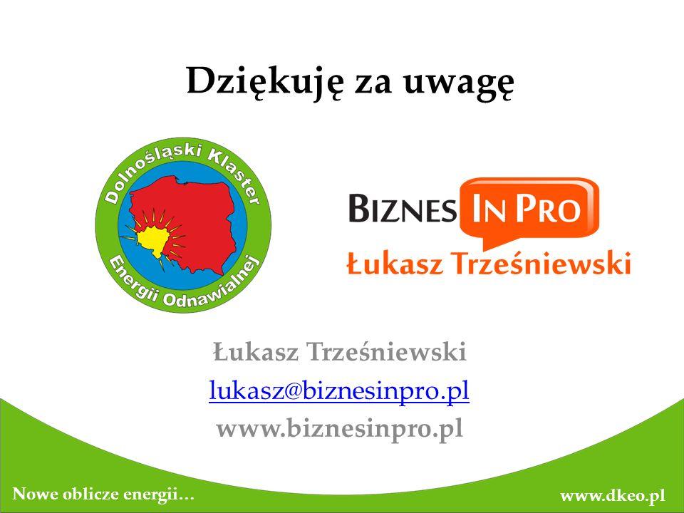Dziękuję za uwagę Łukasz Trześniewski lukasz@biznesinpro.pl