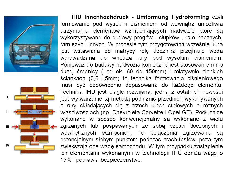 IHU Innenhochdruck - Umformung Hydroforming czyli formowanie pod wysokim ciśnieniem od wewnątrz umożliwia otrzymanie elementów wzmacniających nadwozie które są wykorzystywane do budowy progów , słupków , ram bocznych, ram szyb i innych.