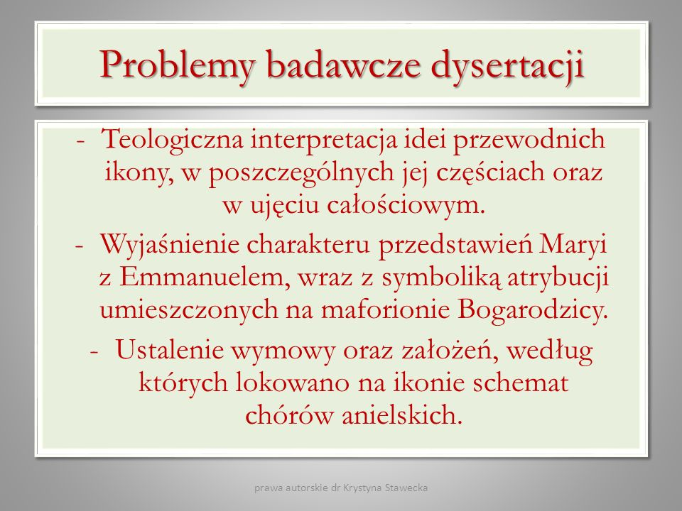 Problemy badawcze dysertacji