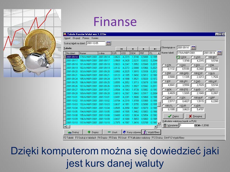 Dzięki komputerom można się dowiedzieć jaki jest kurs danej waluty