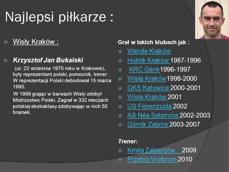 Najlepsi piłkarze : Wisły Kraków : Wanda Kraków Krzysztof Jan Bukalski