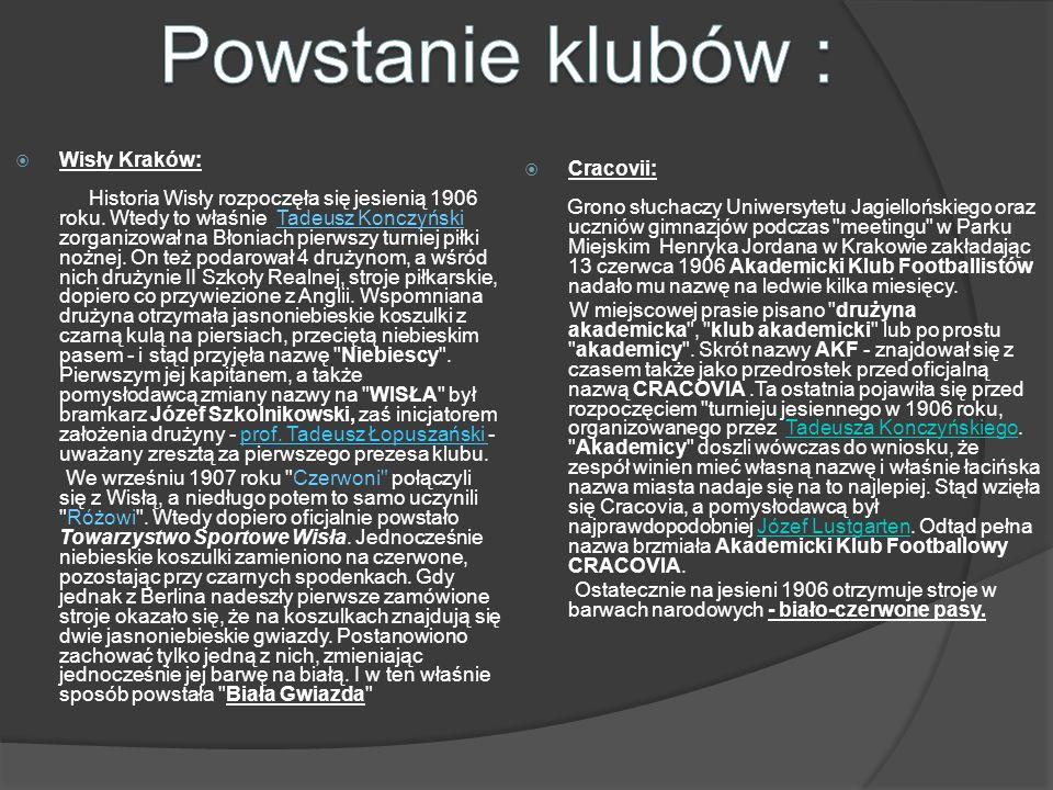 Powstanie klubów : Wisły Kraków: Cracovii: