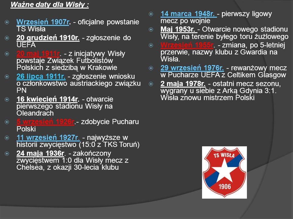 Ważne daty dla Wisły : Wrzesień 1907r. - oficjalne powstanie TS Wisła. 20 grudzień 1910r. - zgłoszenie do UEFA.