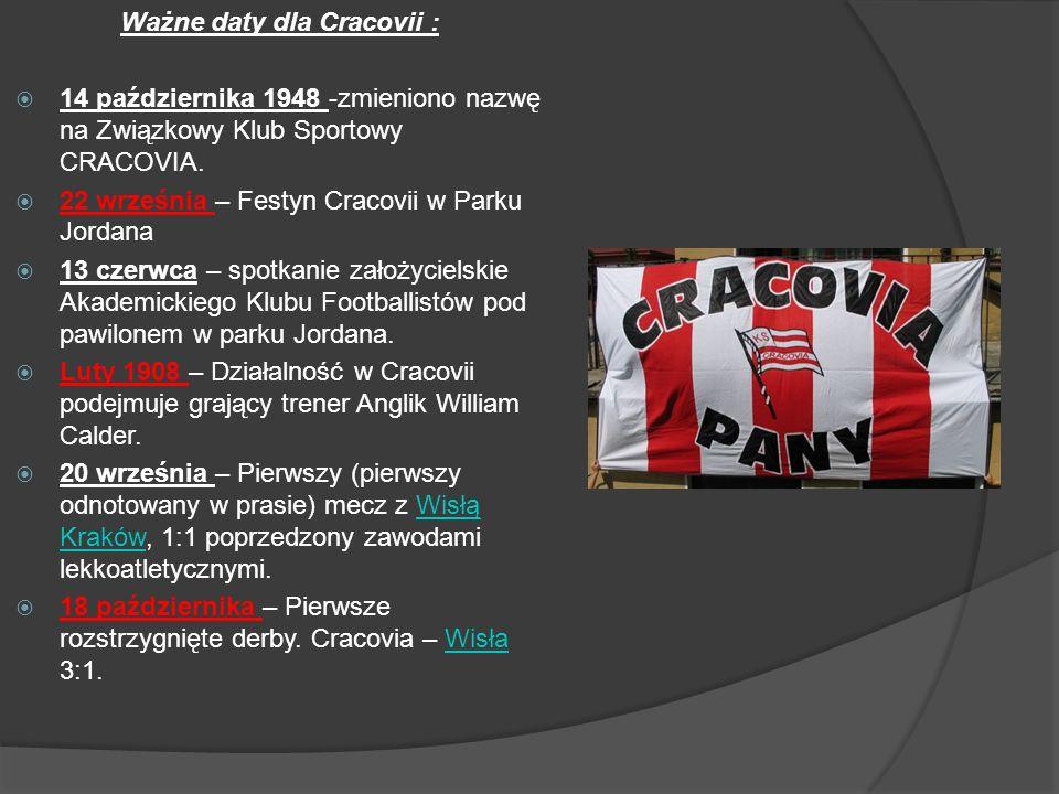 Ważne daty dla Cracovii :