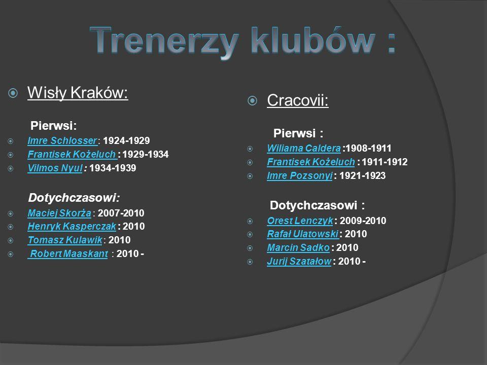 Trenerzy klubów : Wisły Kraków: Cracovii: Pierwsi : Pierwsi: