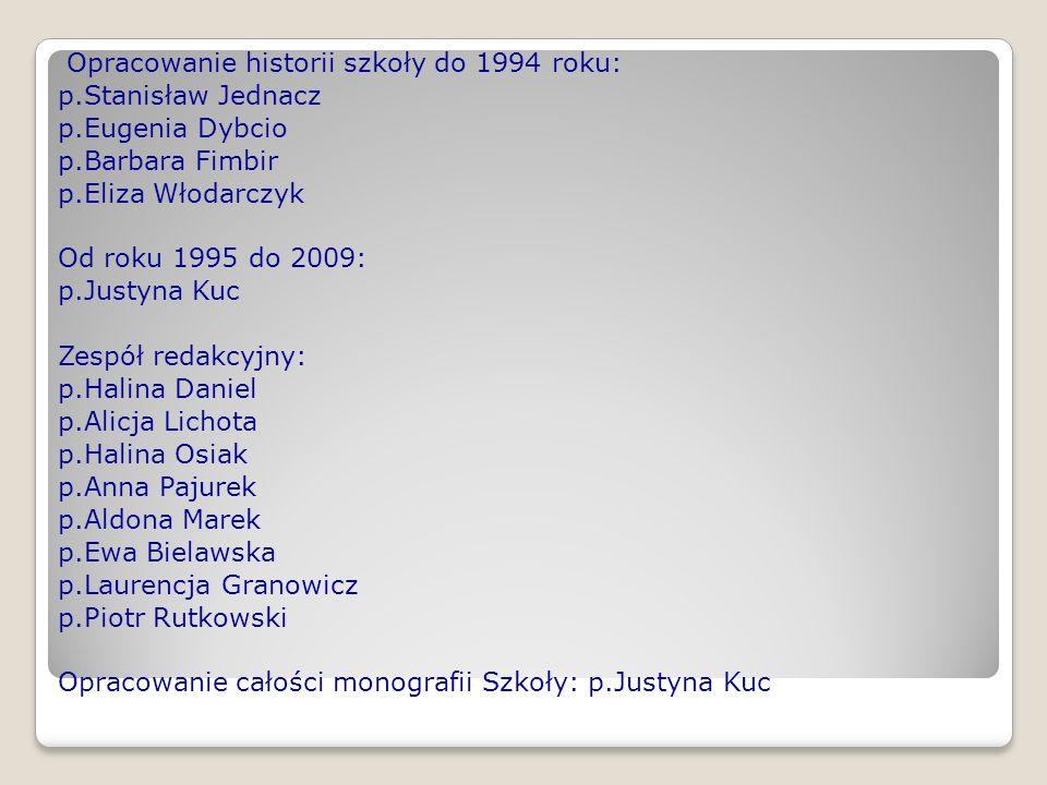 Opracowanie historii szkoły do 1994 roku: p. Stanisław Jednacz p