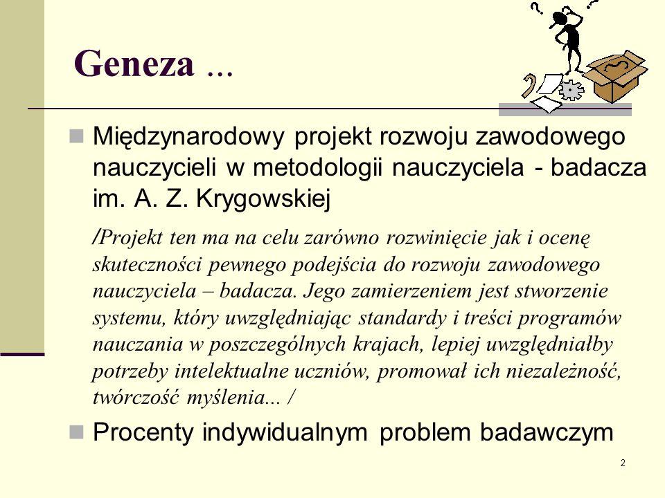 Geneza ... Międzynarodowy projekt rozwoju zawodowego nauczycieli w metodologii nauczyciela - badacza im. A. Z. Krygowskiej.