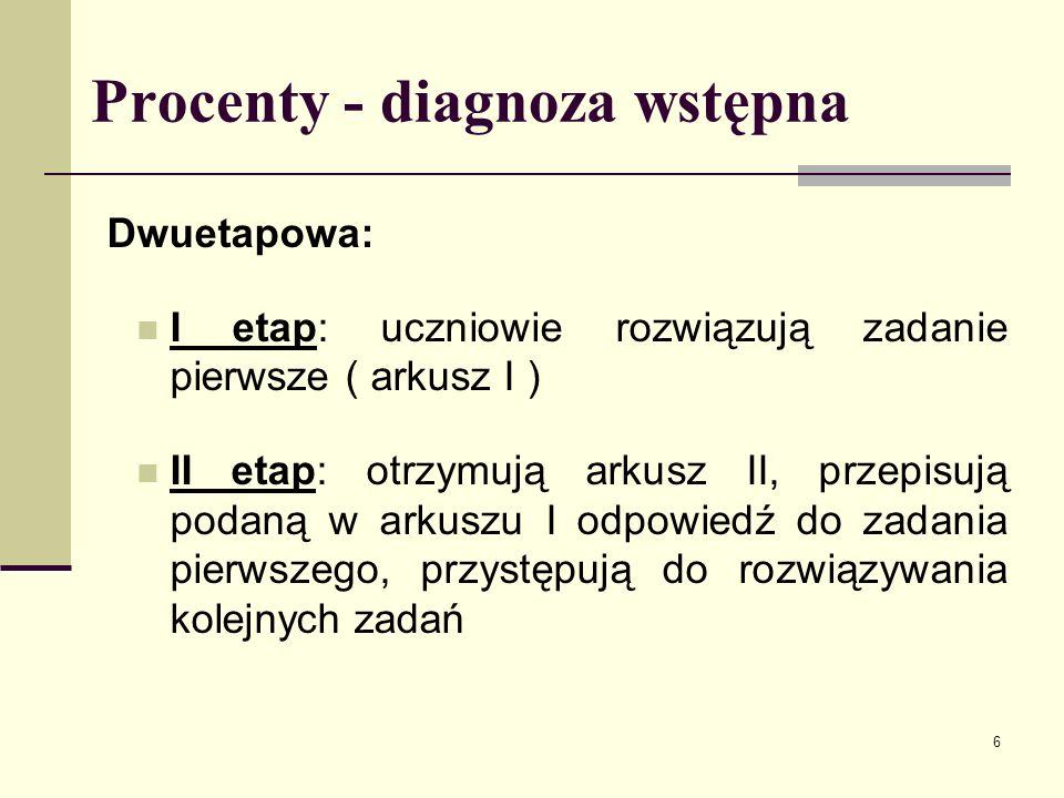 Procenty - diagnoza wstępna