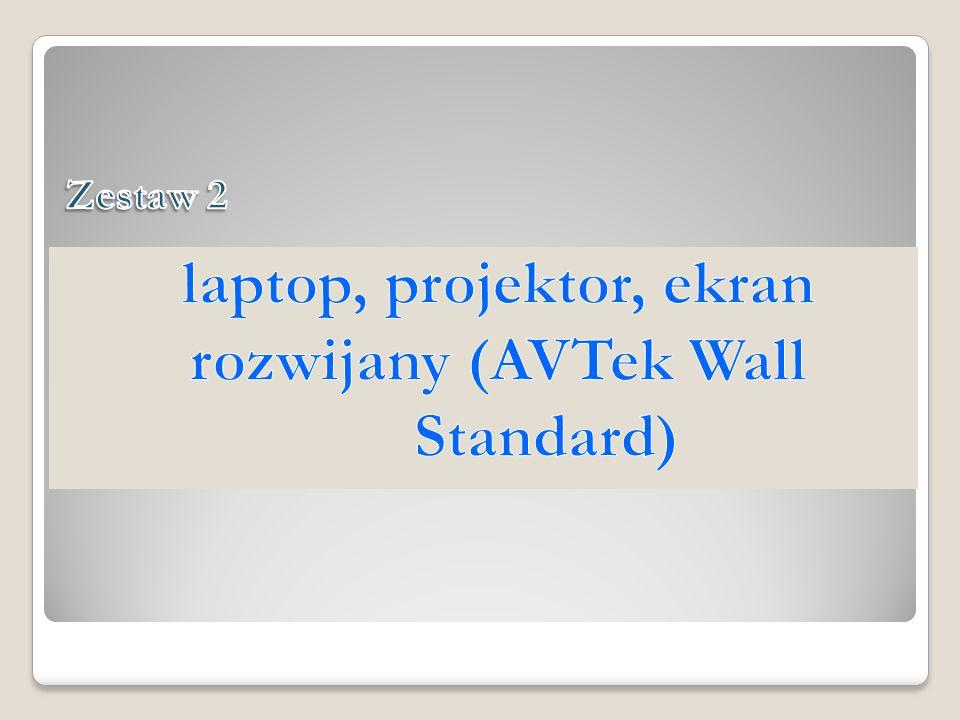 laptop, projektor, ekran rozwijany (AVTek Wall Standard)