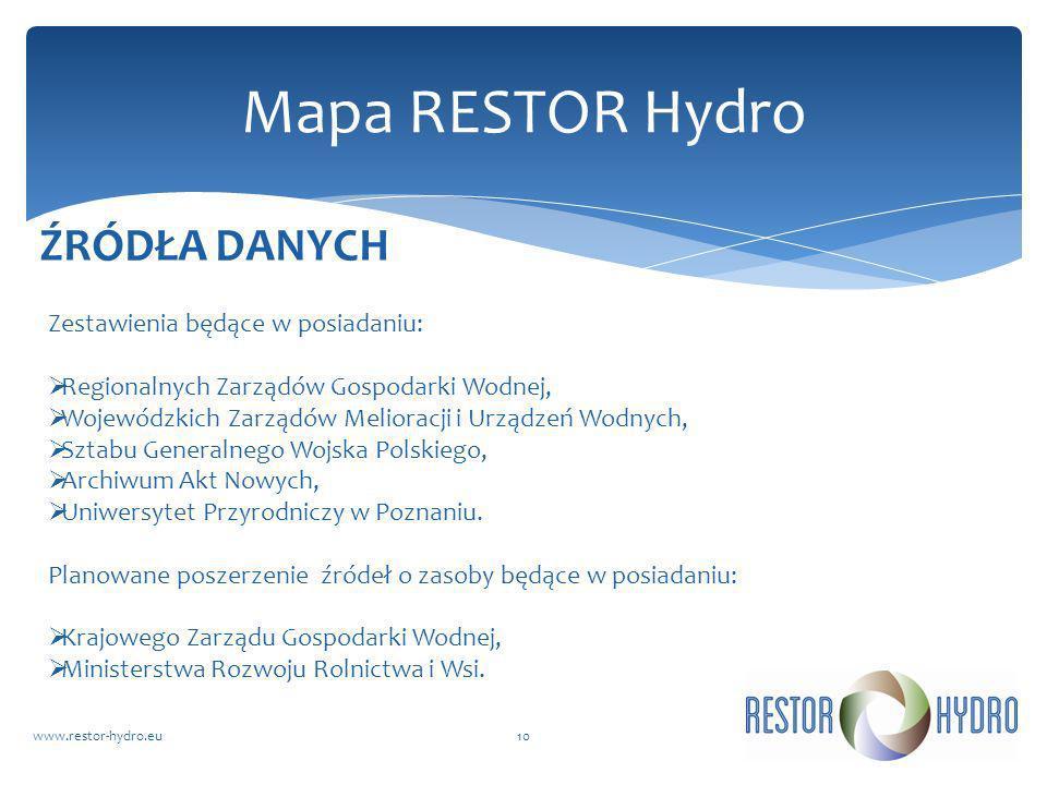 Mapa RESTOR Hydro ŹRÓDŁA DANYCH Zestawienia będące w posiadaniu: