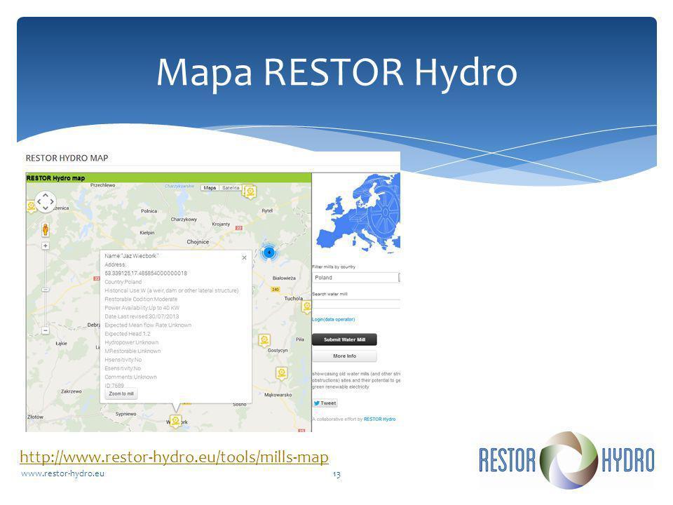 Mapa RESTOR Hydro http://www.restor-hydro.eu/tools/mills-map