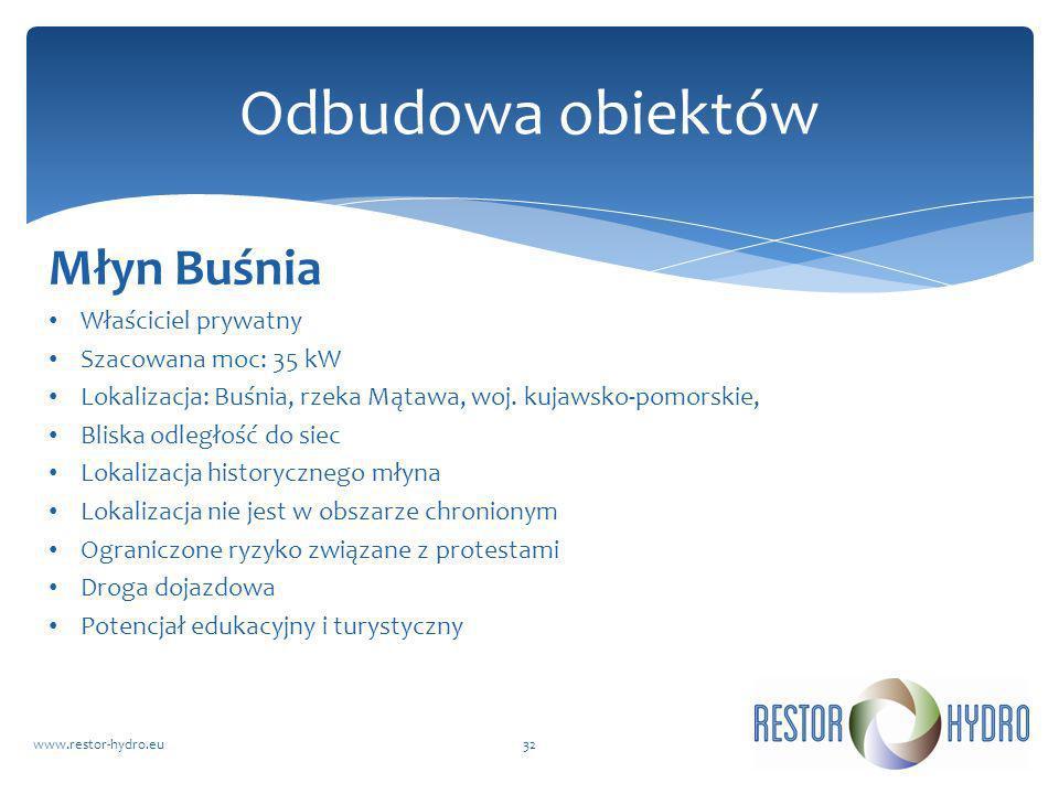 Odbudowa obiektów Młyn Buśnia Właściciel prywatny Szacowana moc: 35 kW