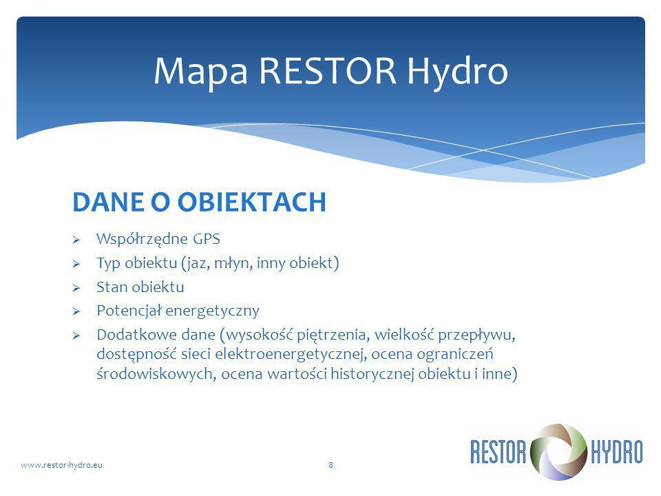 Mapa RESTOR Hydro DANE O OBIEKTACH Współrzędne GPS
