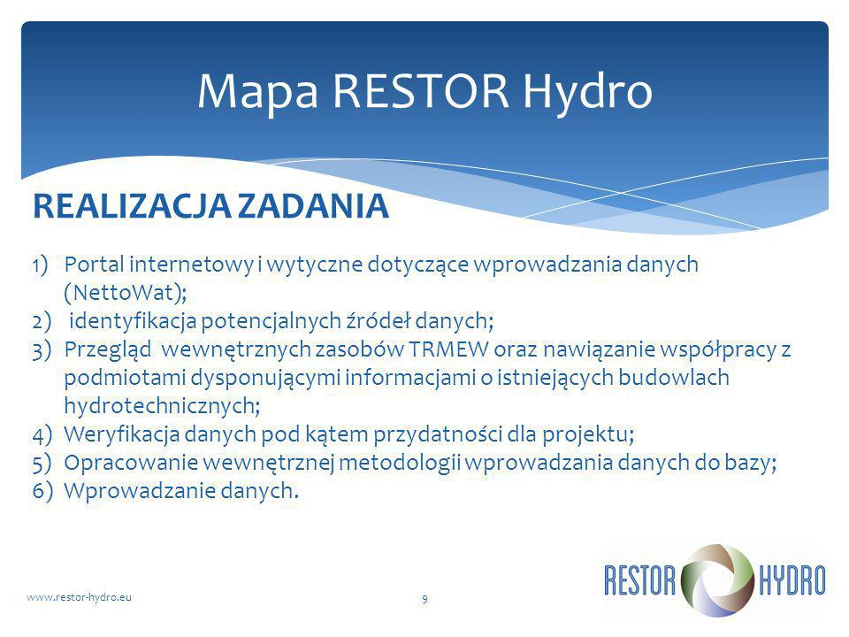 Mapa RESTOR Hydro REALIZACJA ZADANIA