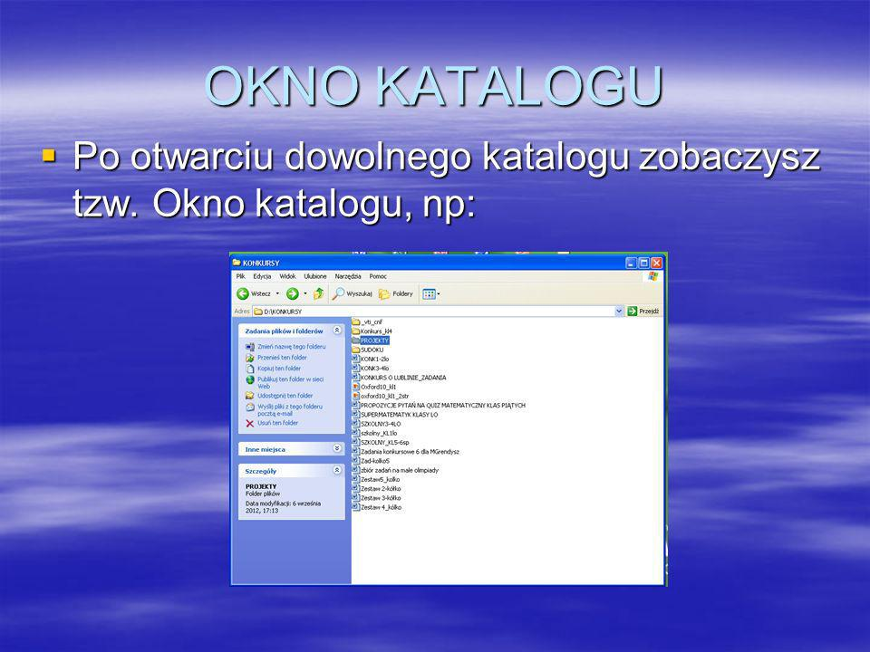 OKNO KATALOGU Po otwarciu dowolnego katalogu zobaczysz tzw. Okno katalogu, np: