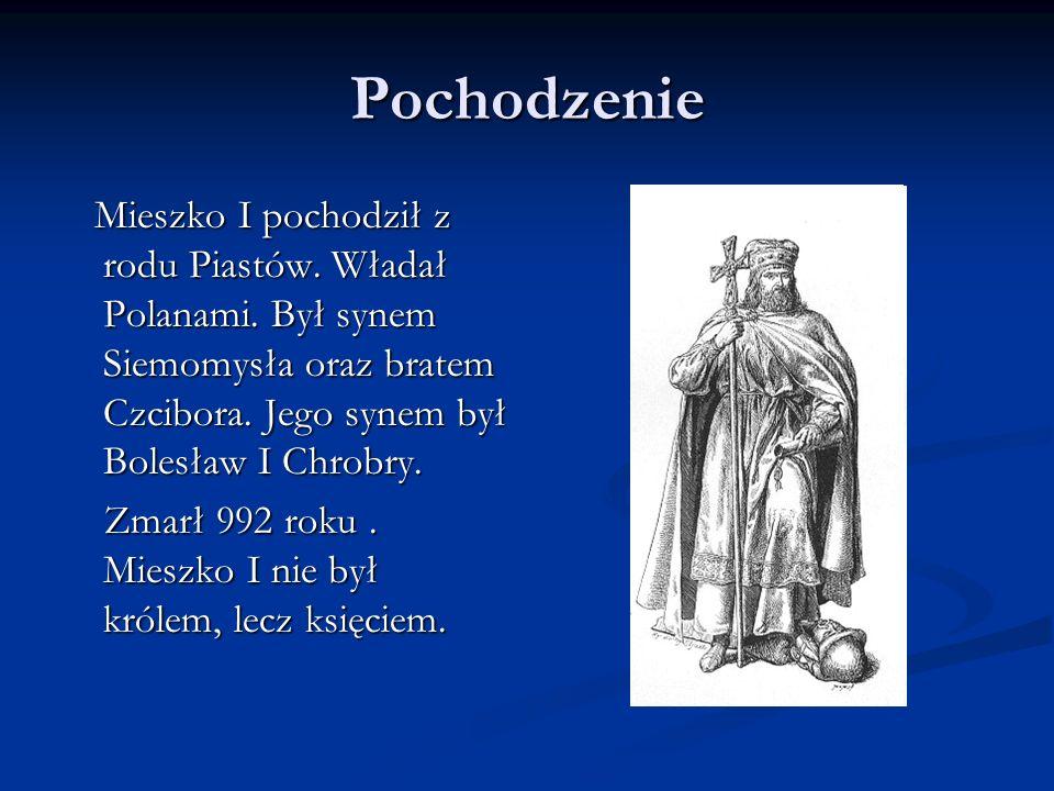 Pochodzenie Mieszko I pochodził z rodu Piastów. Władał Polanami. Był synem Siemomysła oraz bratem Czcibora. Jego synem był Bolesław I Chrobry.