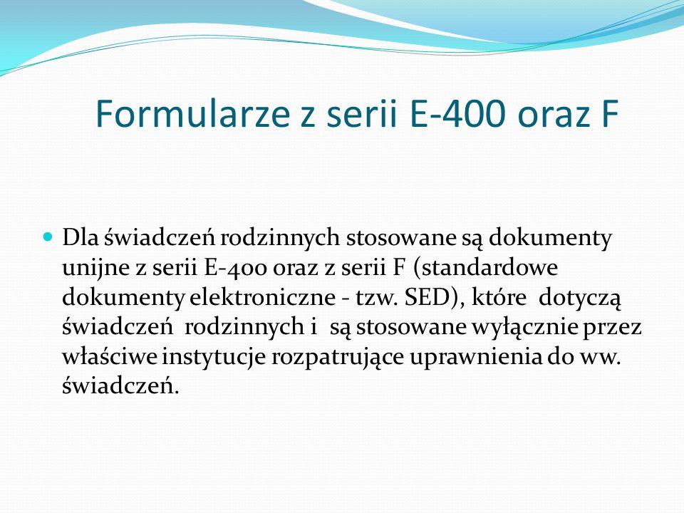 Formularze z serii E-400 oraz F