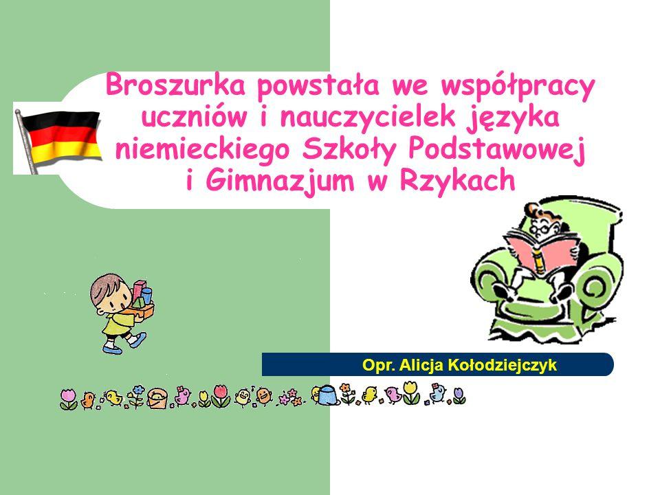 Broszurka powstała we współpracy uczniów i nauczycielek języka niemieckiego Szkoły Podstawowej i Gimnazjum w Rzykach