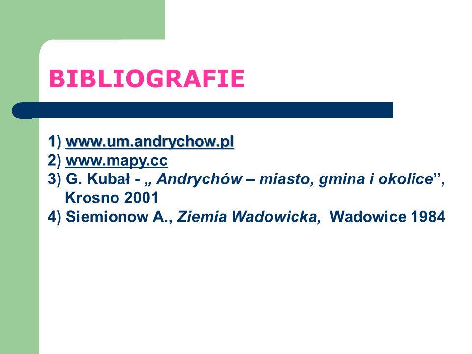 BIBLIOGRAFIE 1) www.um.andrychow.pl 2) www.mapy.cc