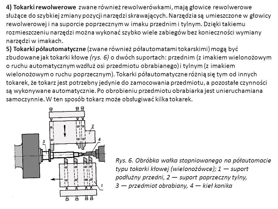 4) Tokarki rewolwerowe zwane również rewolwerówkami, mają głowice rewolwerowe służące do szybkiej zmiany pozycji narzędzi skrawających. Narzędzia są umieszczone w głowicy rewolwerowej i na suporcie poprzecznym w imaku przednim i tylnym. Dzięki takiemu rozmieszczeniu narzędzi można wykonać szybko wiele zabiegów bez konieczności wymiany narzędzi w imakach.