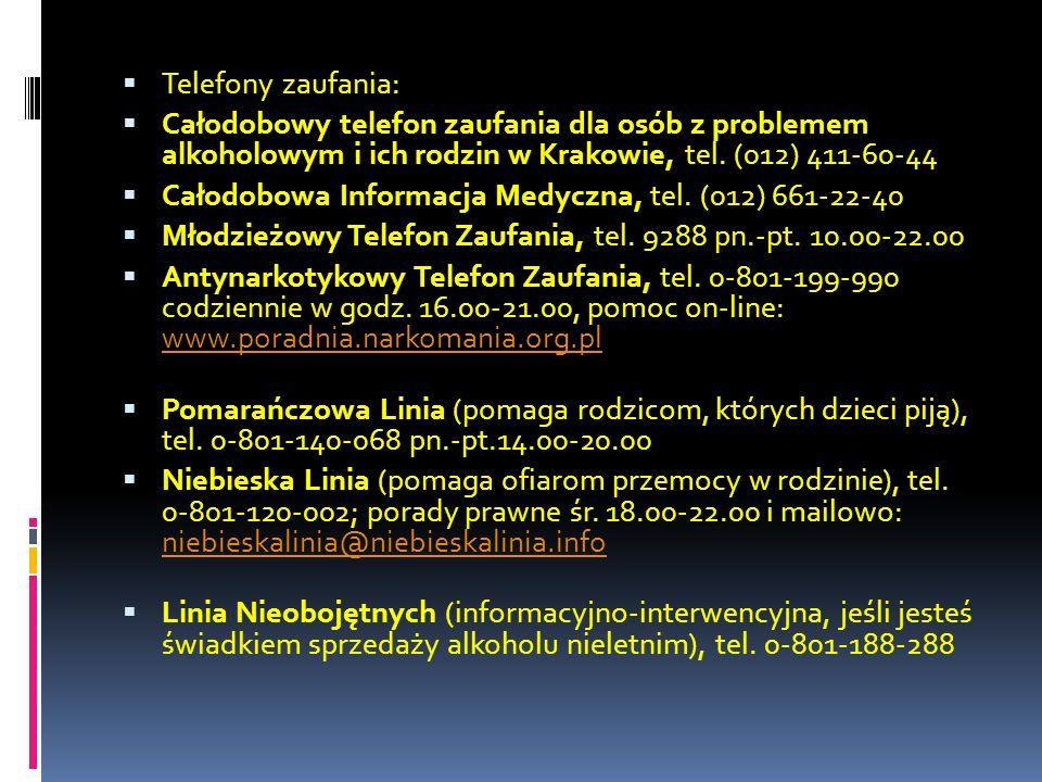 Telefony zaufania: Całodobowy telefon zaufania dla osób z problemem alkoholowym i ich rodzin w Krakowie, tel. (012) 411-60-44.