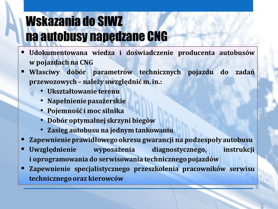 Wskazania do SIWZ na autobusy napędzane CNG