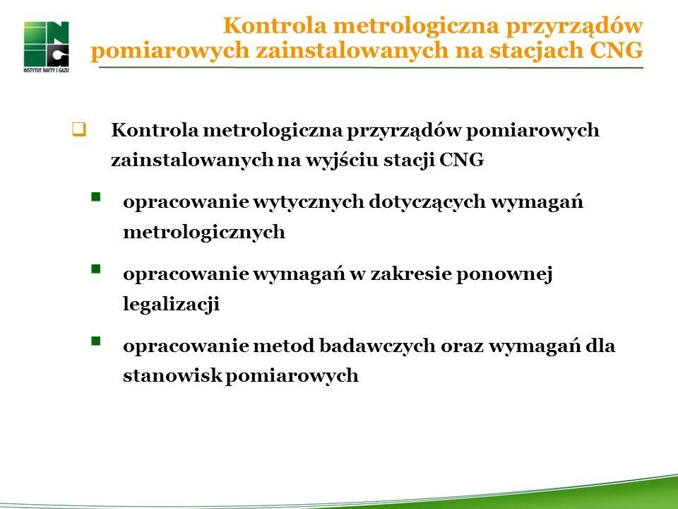 Kontrola metrologiczna przyrządów pomiarowych zainstalowanych na stacjach CNG