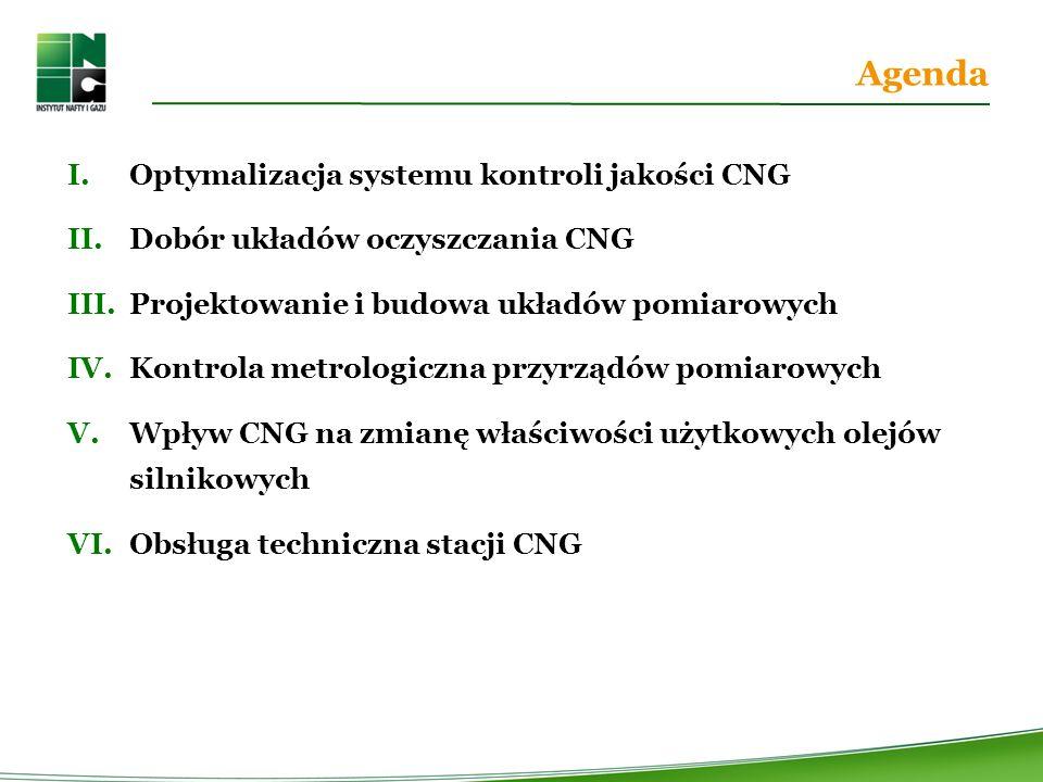 Agenda Optymalizacja systemu kontroli jakości CNG