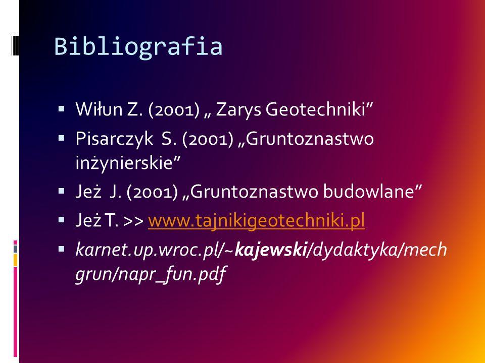 """Bibliografia Wiłun Z. (2001) """" Zarys Geotechniki"""