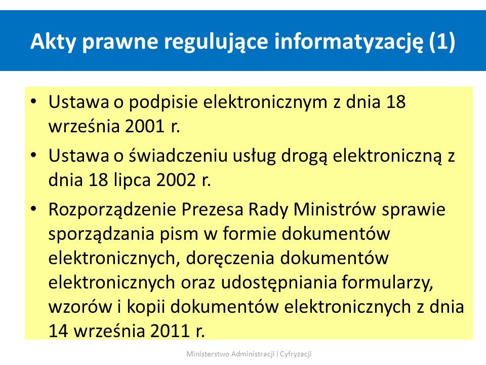 Akty prawne regulujące informatyzację (1)