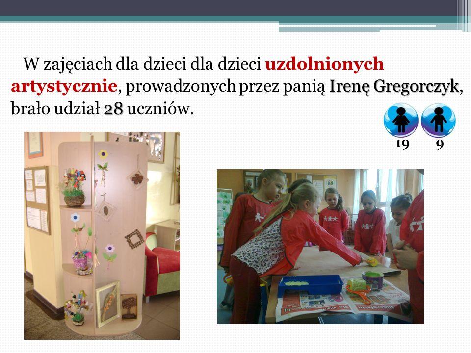 W zajęciach dla dzieci dla dzieci uzdolnionych artystycznie, prowadzonych przez panią Irenę Gregorczyk, brało udział 28 uczniów.