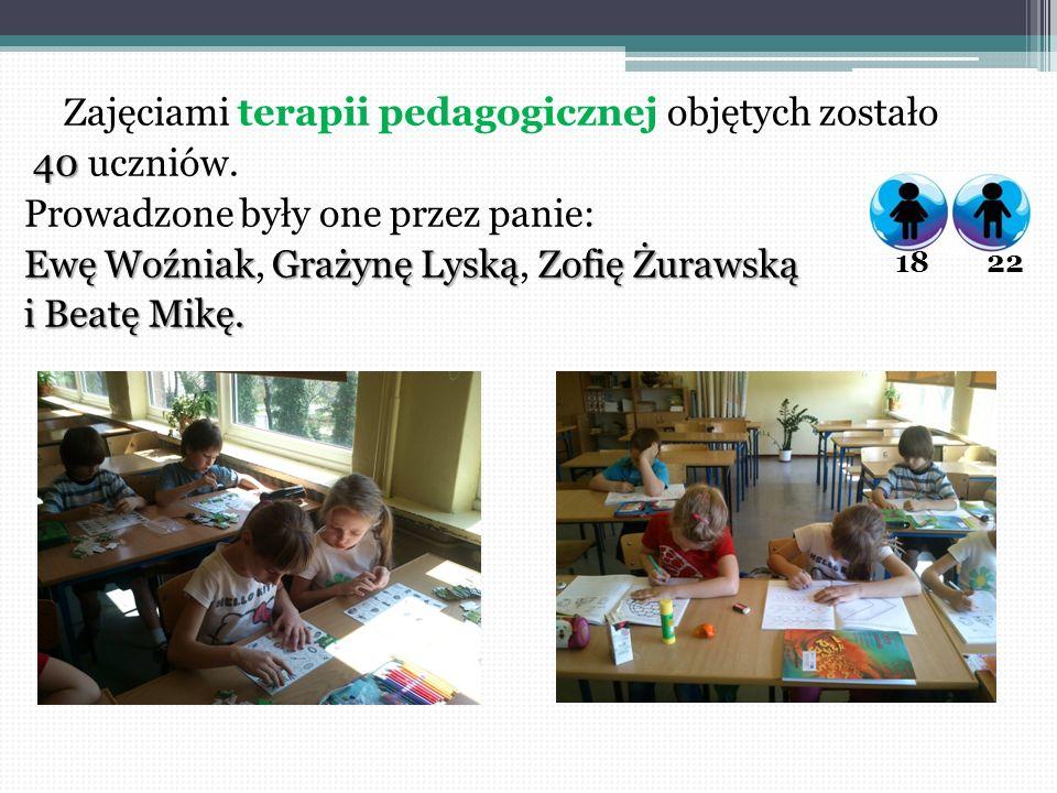 Zajęciami terapii pedagogicznej objętych zostało