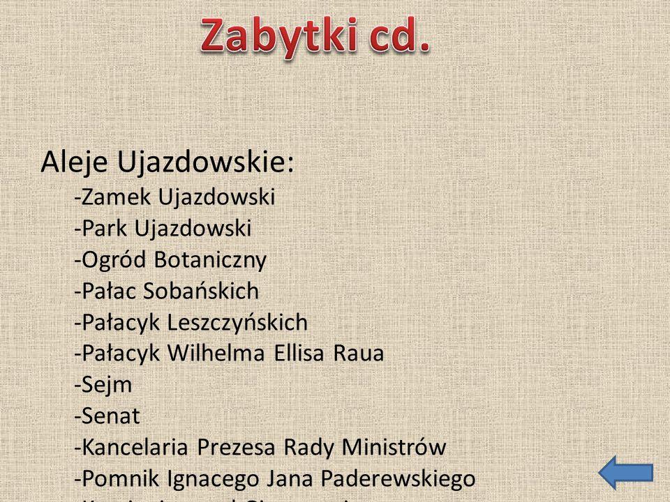 Zabytki cd. Aleje Ujazdowskie: -Zamek Ujazdowski -Park Ujazdowski