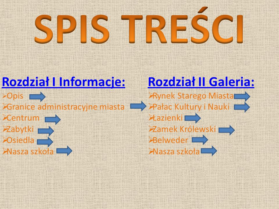 SPIS TREŚCI Rozdział I Informacje: Rozdział II Galeria: