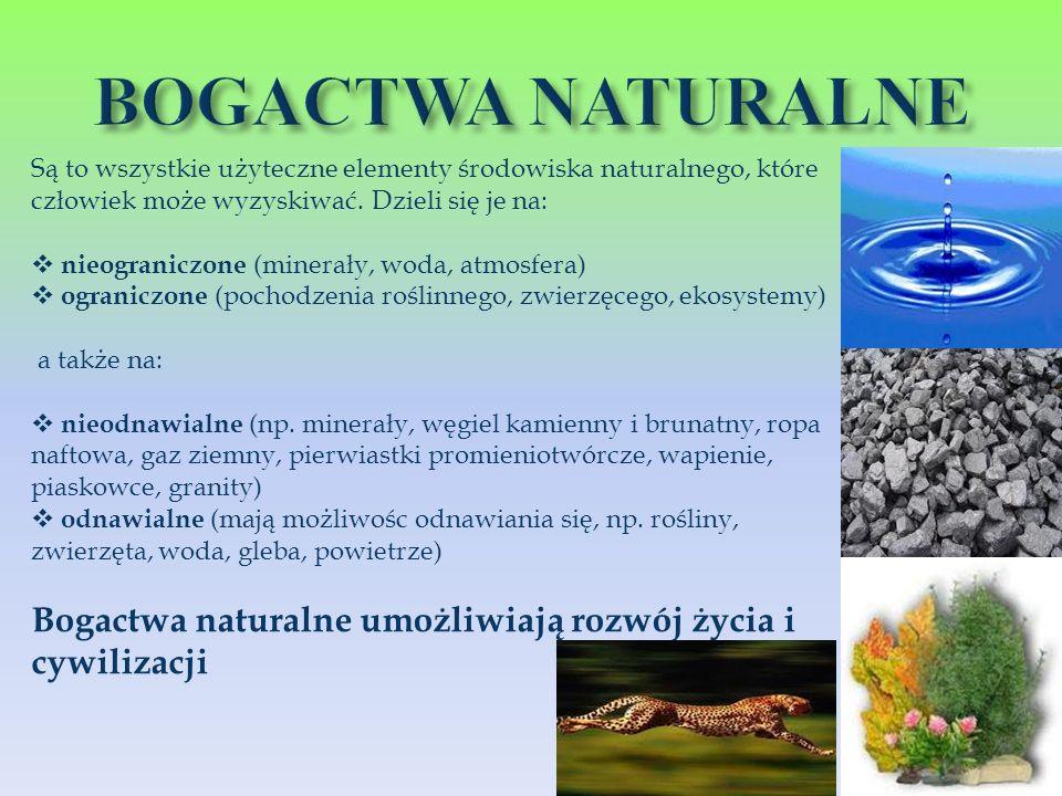 BOGACTWA NATURALNE Są to wszystkie użyteczne elementy środowiska naturalnego, które człowiek może wyzyskiwać. Dzieli się je na: