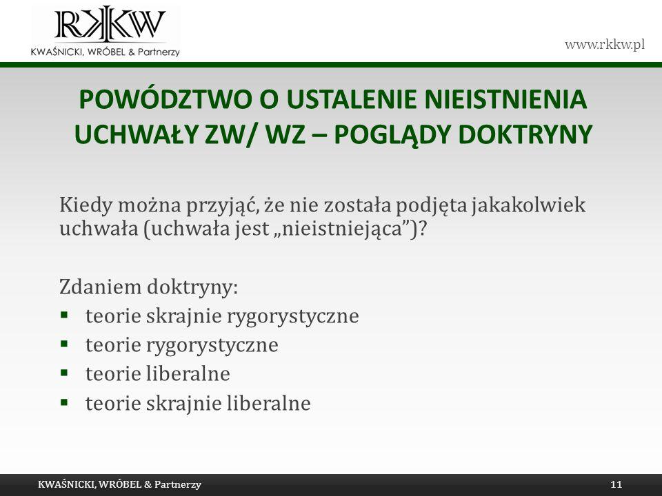 Powództwo o ustalenie nieistnienia uchwały ZW/ WZ – poglądy doktryny