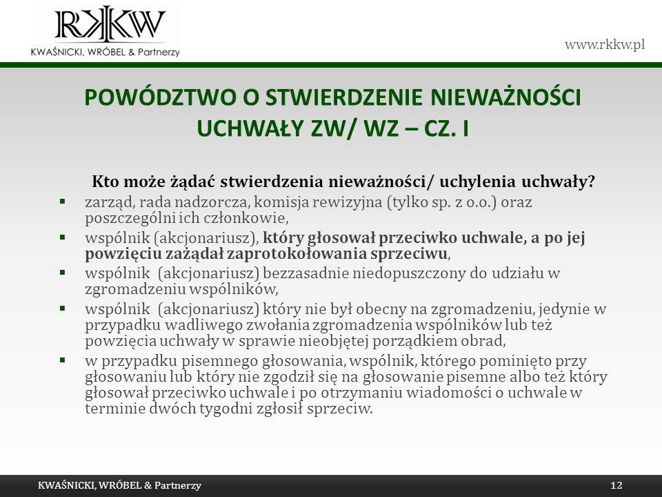 Powództwo o stwierdzenie nieważności uchwały ZW/ WZ – cz. I