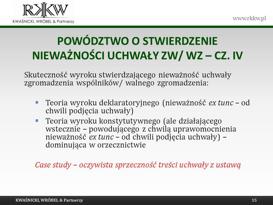 Powództwo o stwierdzenie nieważności uchwały ZW/ WZ – cz. IV