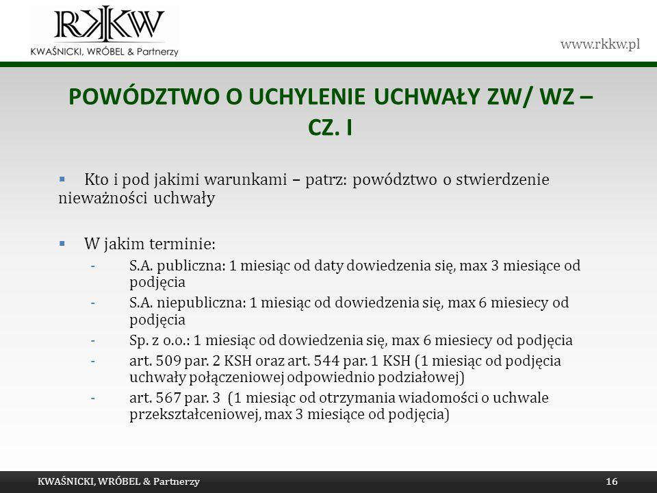 Powództwo o UCHYLENIE uchwały ZW/ WZ – cz. I