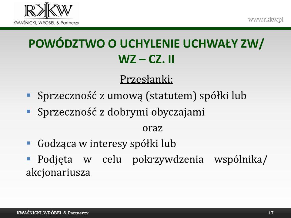 Powództwo o UCHYLENIE uchwały ZW/ WZ – cz. II