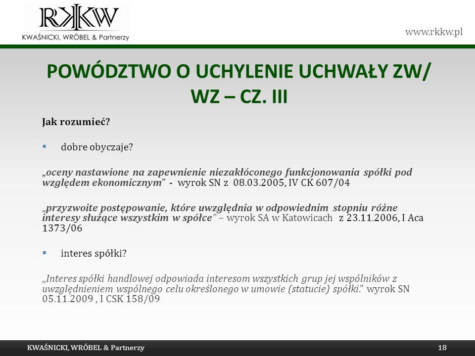 Powództwo o UCHYLENIE uchwały ZW/ WZ – cz. III