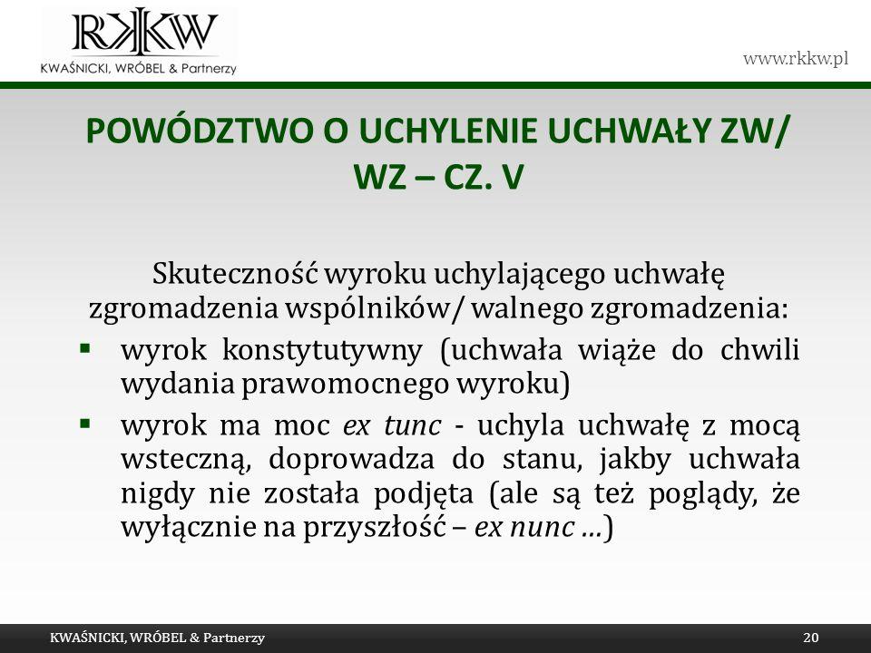 Powództwo o UCHYLENIE uchwały ZW/ WZ – cz. V