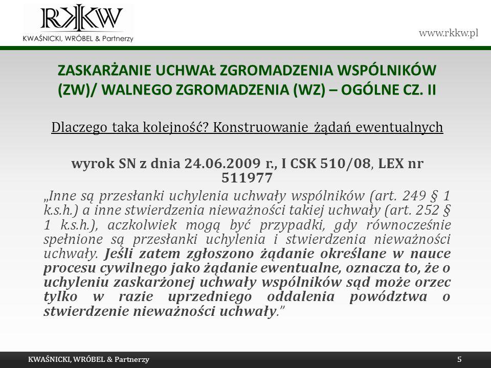 Zaskarżanie uchwał Zgromadzenia wspólników (ZW)/ walnego zgromadzenia (WZ) – OGÓLNE cz. II