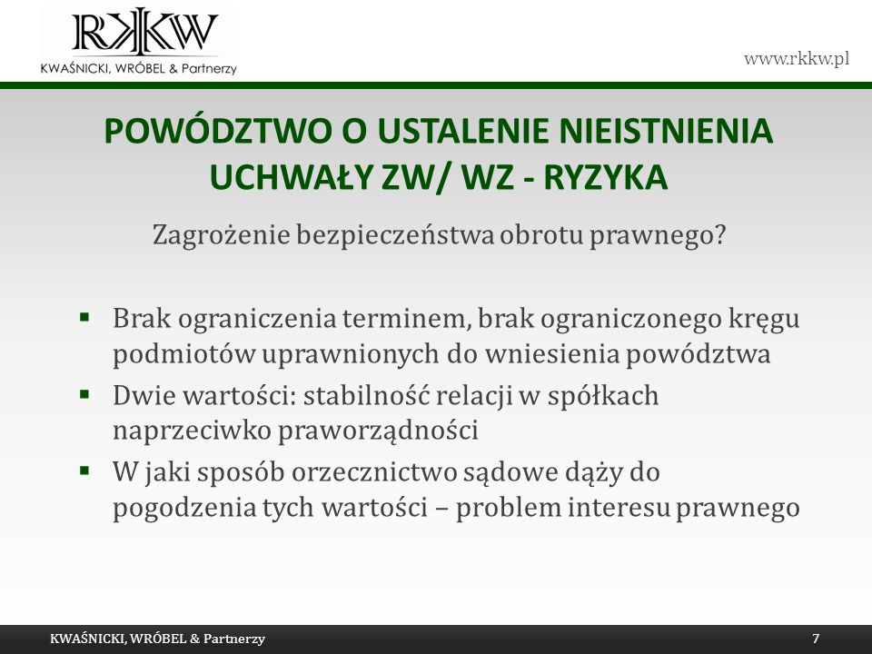 Powództwo o ustalenie nieistnienia uchwały ZW/ WZ - ryzyka
