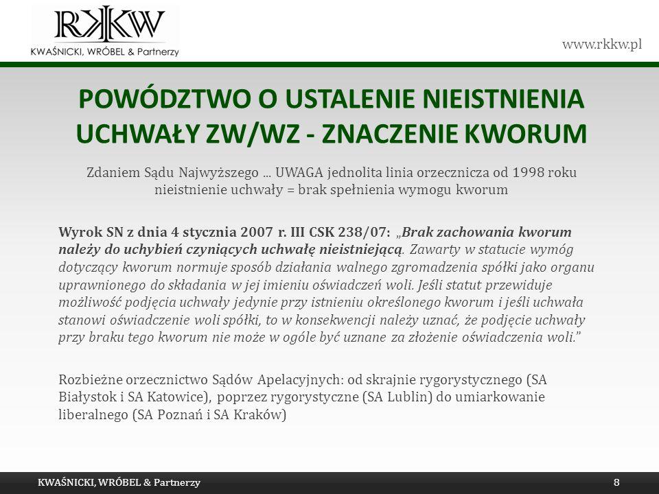 Powództwo o ustalenie nieistnienia uchwały ZW/WZ - znaczenie kworum