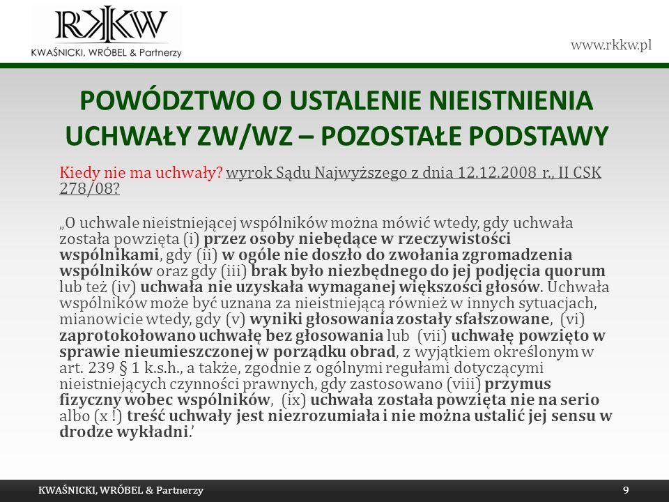 Powództwo o ustalenie nieistnienia uchwały ZW/WZ – pozostałe podstawy
