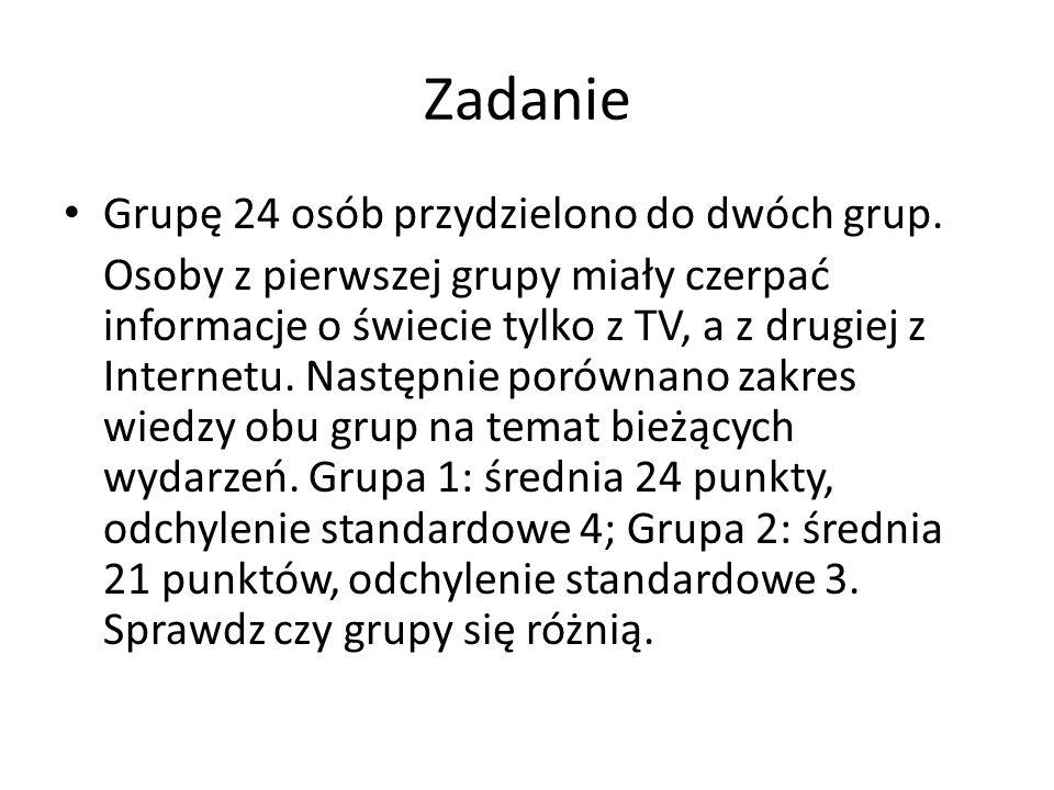 Zadanie Grupę 24 osób przydzielono do dwóch grup.