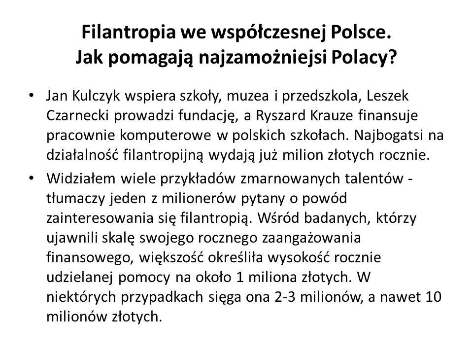 Filantropia we współczesnej Polsce. Jak pomagają najzamożniejsi Polacy